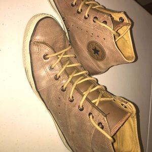 Tan Leather Men Converse